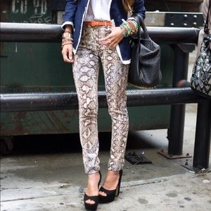 Zara lightweight snake print skinny jeans